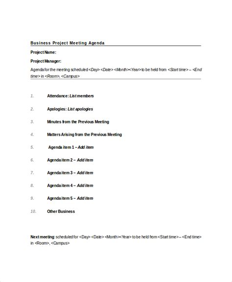 project meeting agenda template 10 free word pdf