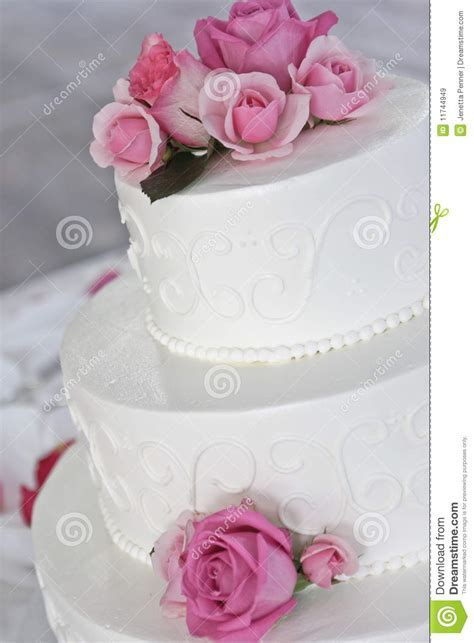 Wedding Cake With Pink Roses Stock Image   Image: 11744949