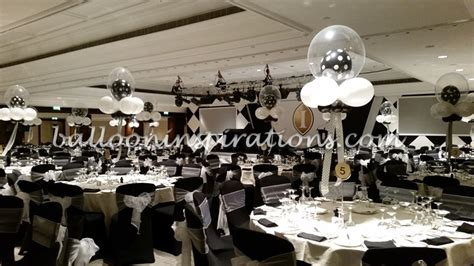 black and white table centerpieces black and white themed balloon decorations