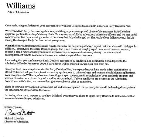 Williams College Acceptance Letter Questbridge Ephblog