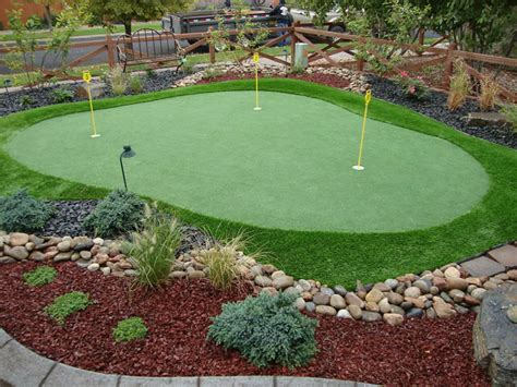 putting green in your backyard garden patio mini size putting green with yellow signs