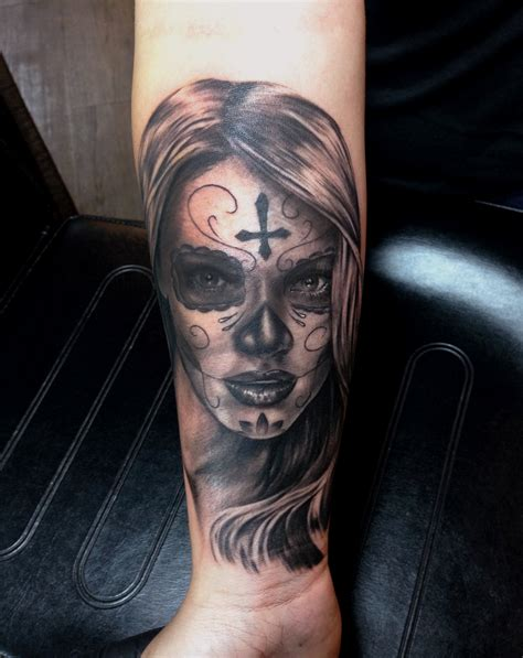 forearm black and grey day of the dead tattoo chronic ink