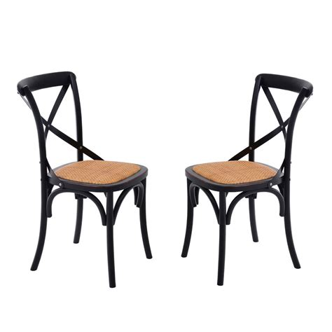 Metal And Wood Dining Chairs Homcom Dining Chairs Set Of 2 Kitchen Vintage X Back Solid Wood Metal Black New Ebay