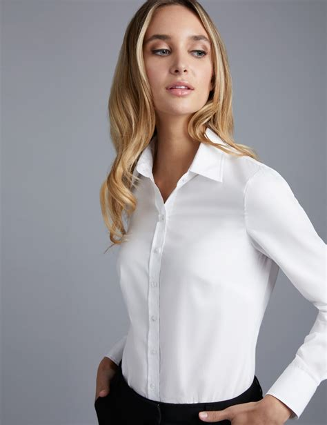 Blouse Should s white semi fitted cotton poplin shirt single cuff hawes curtis