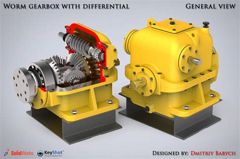 rendering animation with photoview in solidworks grabcad worm gearbox with differential animation speed render
