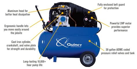 quincy single stage portable electric air compressor 2 hp 20 gallon horizontal 7 4 cfm