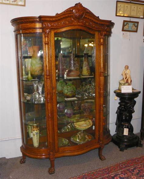 Antique Large Oak Curved Glass Curio China Cabinet   eBay