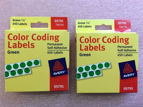 color coding labels td5731 avery 05791 green color coding labels self adhesive