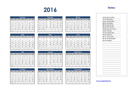 A Calendar In 2016 Excel Yearly Calendar 01 Free Printable Templates