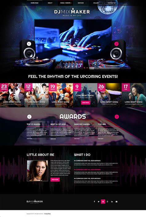 templates for dj website dj musicbootstrap template at www flashtemplatestore com