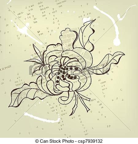 fiori stilizzati giapponesi illustrazioni vettoriali di decorativo fiore stilizzato