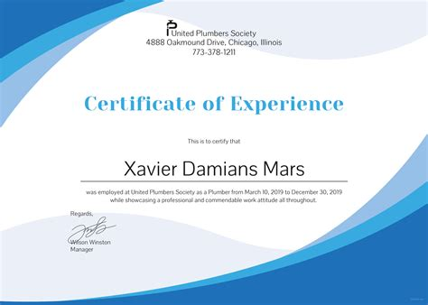 template of experience certificate free plumbing experience certificate template in psd ms word publisher illustrator indesign