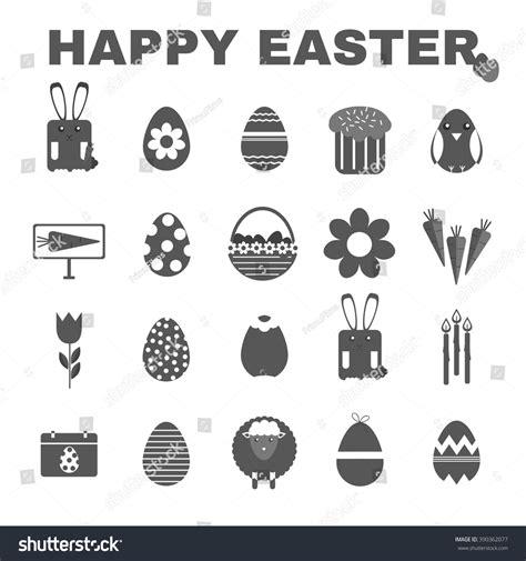 Bunny Ibon Black happy easter black white icon set stock vector 390362077