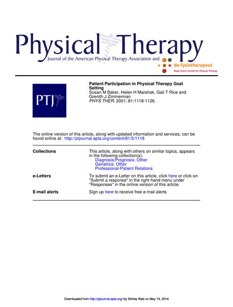 patient participation in physical therapy pdf available