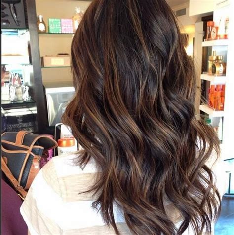 subtle colors brown hair with soft highlights makeup nails