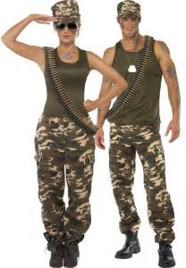 Couples khaki camo army costumes for adults fancy dress delivered