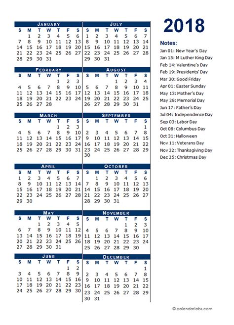 2018 full year calendar template half page free