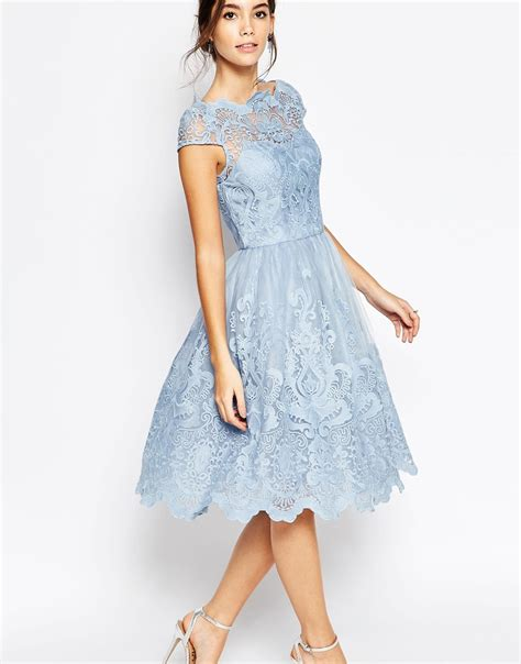 Snchi Chi chi chi premium lace midi prom dress with bardot