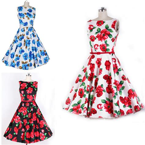 pattern dress rockabilly europe women 50s retro flowers print pattern word collar