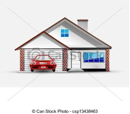drawing of a house with garage clip art vector of house and red sports car near garage