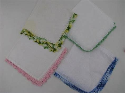 Handmade Handkerchief Patterns - vintage linen handkerchiefs lot handmade lace edging