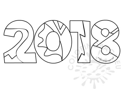 2018 New Year Adult Coloring Book Coloring Page New Year Coloring Page