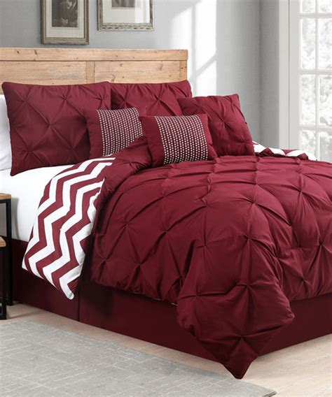 red venice pinch pleat comforter set contemporary
