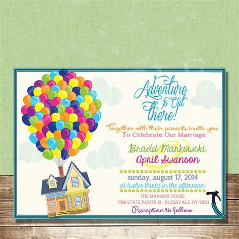 up wedding invitation featuring carl and ellie s house inspired by disney up 4x6 or 5x7