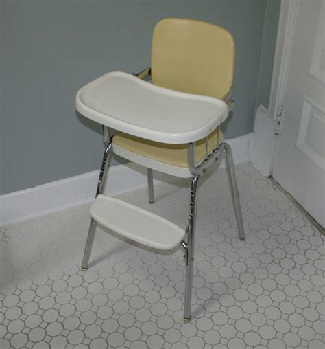 Vintage Metal High Chair by Vintage Cosco Chrome Steel Baby High Chair Sturdy Fixed