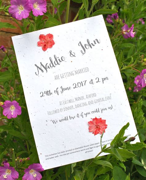eco paper wedding invitations seed paper wedding invitation eco friendly wedding invitation