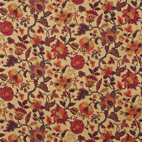 amanpuri fabric gold aubergine dcouam201 - Country Fabric