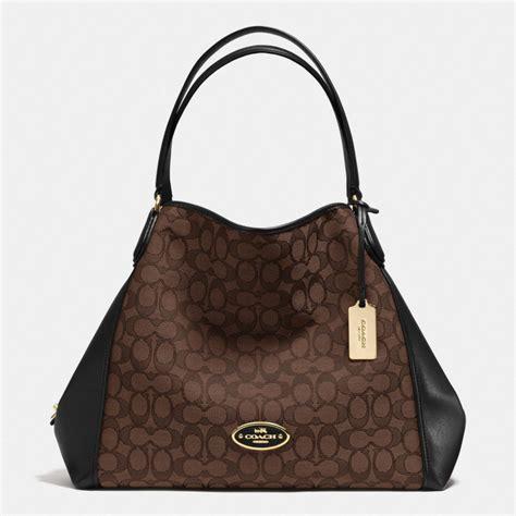 Jacquard Shoulder Bag by Coach Edie Shoulder Bag In Signature Jacquard In Brown