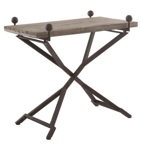 Folding Side Table Country Reclaimed Wood Folding Wrought Iron Side Table L Kathy Kuo Home