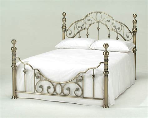 Harmony Florence Antique Brass Metal Bed Frame Antique Vintage Style Bed Frame