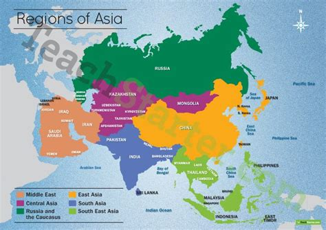 resource map of asia map of the regions of asia teaching resource teach starter