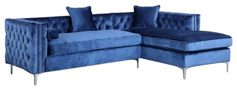 blue velvet sectional sofa da vinci velvet button tufted right facing sectional sofa