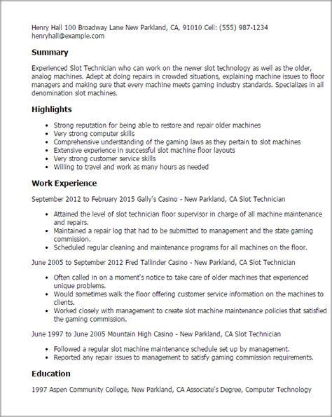 Machine Technician Cover Letter by 1 Slot Technician Resume Templates Try Them Now Myperfectresume