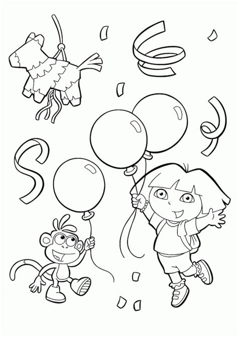 cartoons coloring pages dora birthday coloring pages