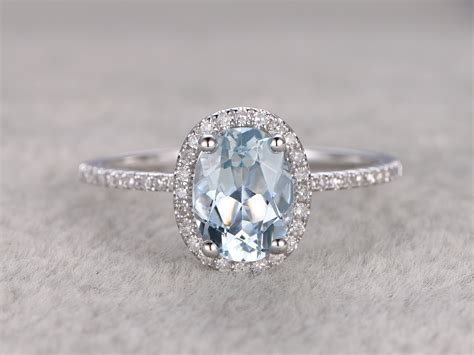 Gemstone Engagement Rings by Blue Aquamarine Ring Engagement Ring White Gold With