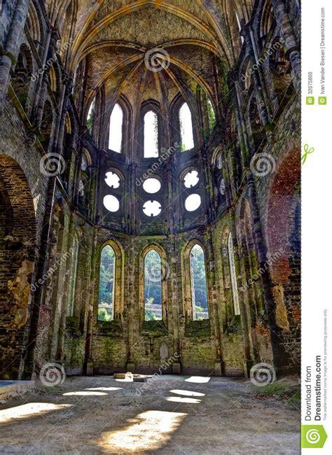 Catholic Church Floor Plans Ruins Choir Church Abbey Villers La Ville Belgium Stock