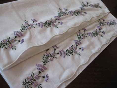 Embroidered Pillow Cases by Oliver S Bungalow Violets Embroidered Pillowcases