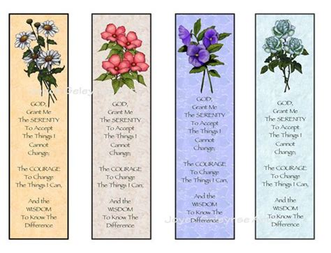 printable bookmarks christian instant printable bookmarks flowers serenity prayer