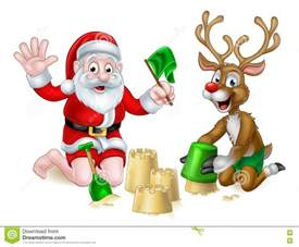 santa and reindeer christmas summer beach stock vector