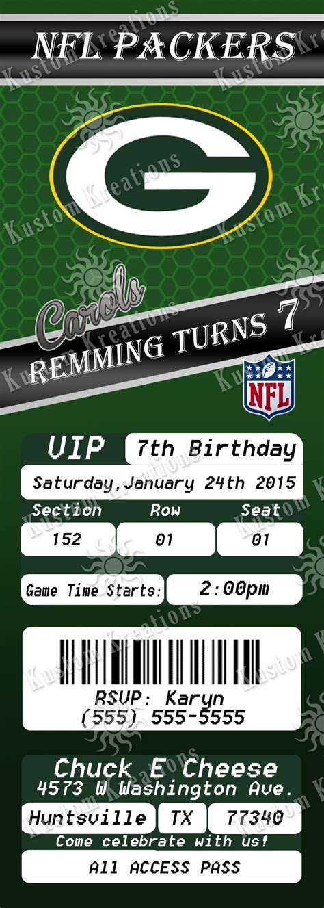 Green Bay Packers Birthday Card Template by Nfl Green Bay Packer S Birthday Invitation Kustom Kreations