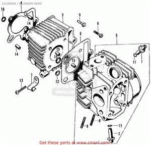 honda ct70 trail 70 1972 ct70k1 usa cylinder cylinder schematic partsfiche