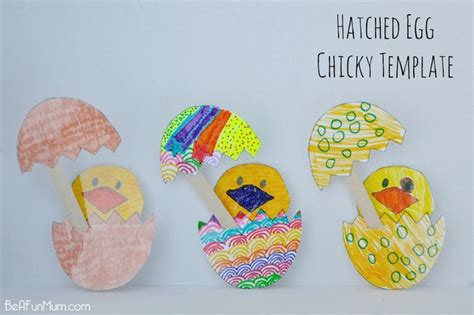 Easter Egg Paper Crafts - easter craft hatched egg chicky template be a