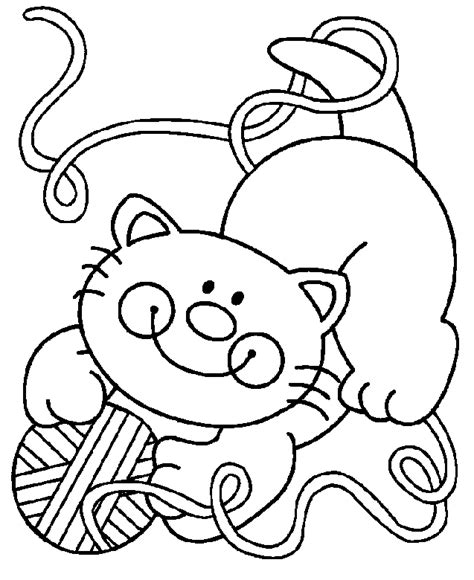 imagenes de animales jugando para colorear gato jugando con una bola de hilo