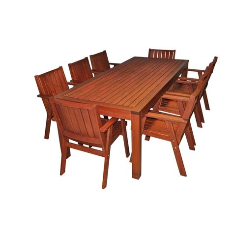 mimosa 9pc red gum timber setting i n 3191478 bunnings