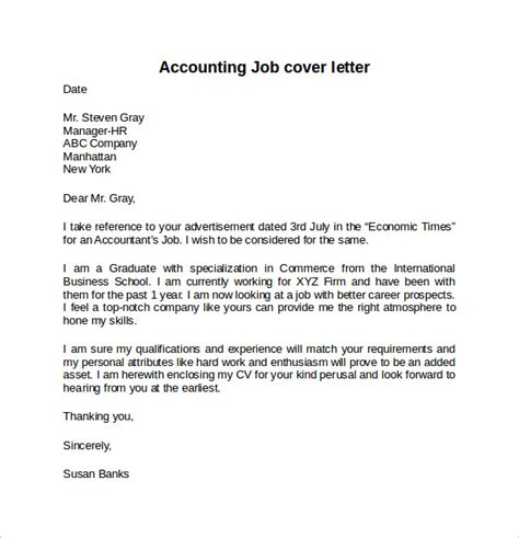 Accounting Cover Letter Exle by Sle Cover Letter Accountant Posi
