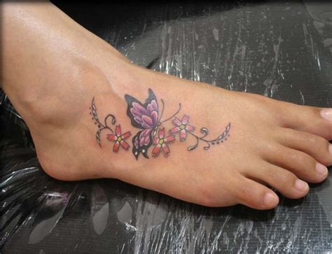 small flower foot tattoo butterfly tattoos on foot meaning pictures designs